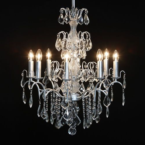 Antique French Cut Glass Silver Chandelier 8 arm